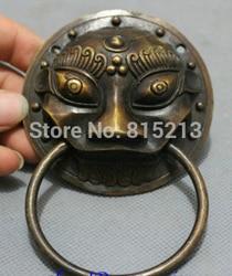 Bi0011680 Chiny Lion Head Mask Posąg FengShui Brąz Zbierać Odwrócenia Zła Bramy Drzwi Kołatka w Posągi i rzeźby od Dom i ogród na