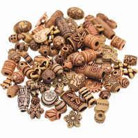 CHONGAI 40g/Bag Acrylic Imitation Wood Color Mixed style Acrylic Beads For Jewelry Making Kids Necklace DIY Jeweley 8-30mm