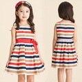 Мода Корейской версии детей платье девушка полосатые платья с бантом рукавов платье Принцессы дети детская Одежда