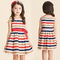 fashion Korean version children dress girl striped dresses with bow sleeveless  Princess dress kids Children's Clothing