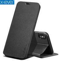 X Level PU Leather Flip Folio Stand Credit Card Holder Cover For IPhone X 360 Full