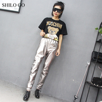 SHILO GO Leather pants Womens Spring Fashion sheepskin genuine leather pants stretch high waist side pocket sliver pencil pants