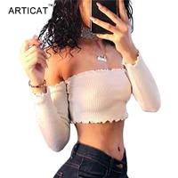 Articat Off Shoulder Long Sleeve T-shirt Women Crop Top 2017 Stringy Selvedge Party Bustier Crop Top Elastic Tube Club Women Top