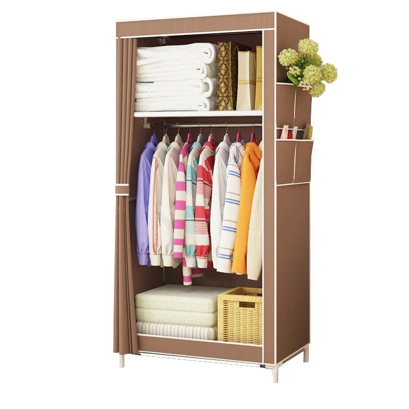 Mode Simple style petit garde-robe Vêtir de stockage armoires Pliable Non-tissé placard en acier tuyau individuels armoire pour Chambre
