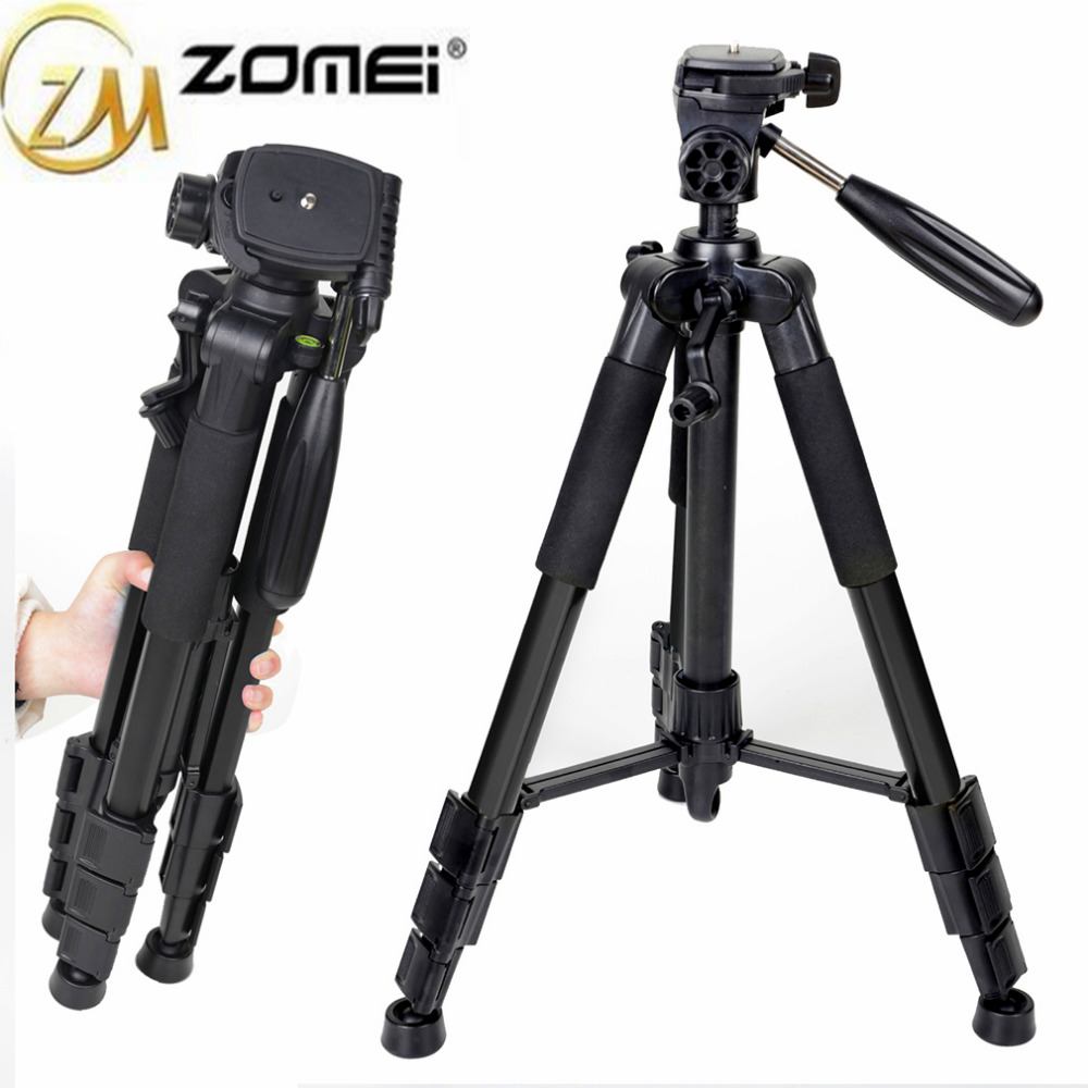 Zomei Professional Aluminum Alloy SLR Three Camera Folding Portable Tripod with Ball Head Bag Travel for DSLR Black Q111
