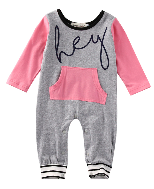 a0292e340 Newborn Baby Girl Boy Rompers Striped Jumpsuit Hey Letter Print ...