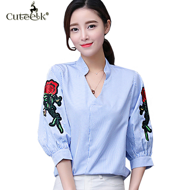 407a7e8f39824 Plus Size 5XL 2017 Blusas Fashion Strip V-neck Women Blouse Floral  Embroidery Female Blusa Puff Sleeve Blouses Loose Shirt Tops