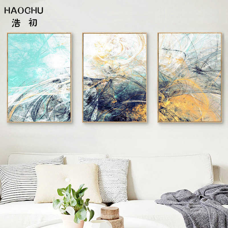 HAOCHU Europe Landscape Modern Colorful Abstract Geometric Crystal Stone Triptych Canvas Painting Bedroom Hotel Wall Decor