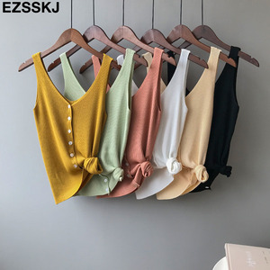 2019 Summer Spring Harajuku Knit Tank Top Cami Korean Camisole Elastic Vest O Neck Solid Color New Loose Tops