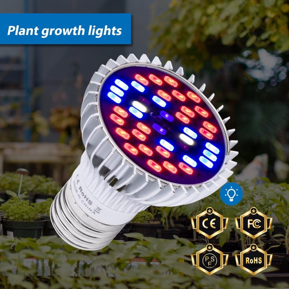 LED Grow Lights E27 Full Spectrum LED Bulb 220V 5730 SMD Plants Seeds Flower 30W 50W 80W UV LED Lamp Indoor Grow Tent 110V Phyto