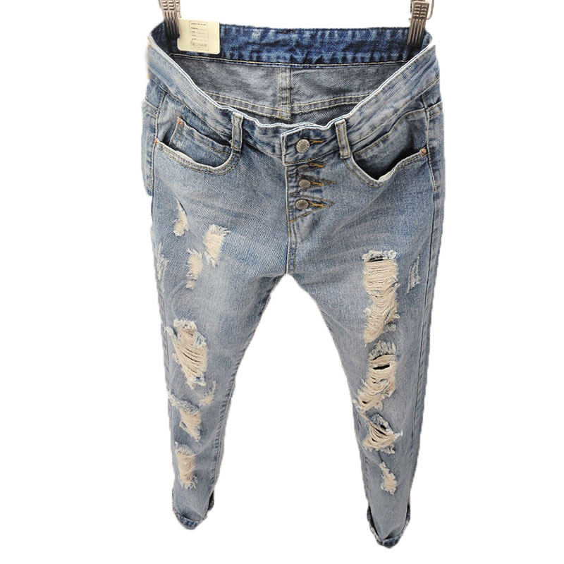 2016 Summer Style Women Jeans ripped Holes Harem Pants Slim vintage boyfriend jeans for women High Waist Long Pencil