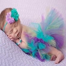Infant Newborn Baby Girl Clothes Girls Flower Headband Mesh Ball Gown Tutu Skirts Photography Prop Baby Clothing Set MU986703