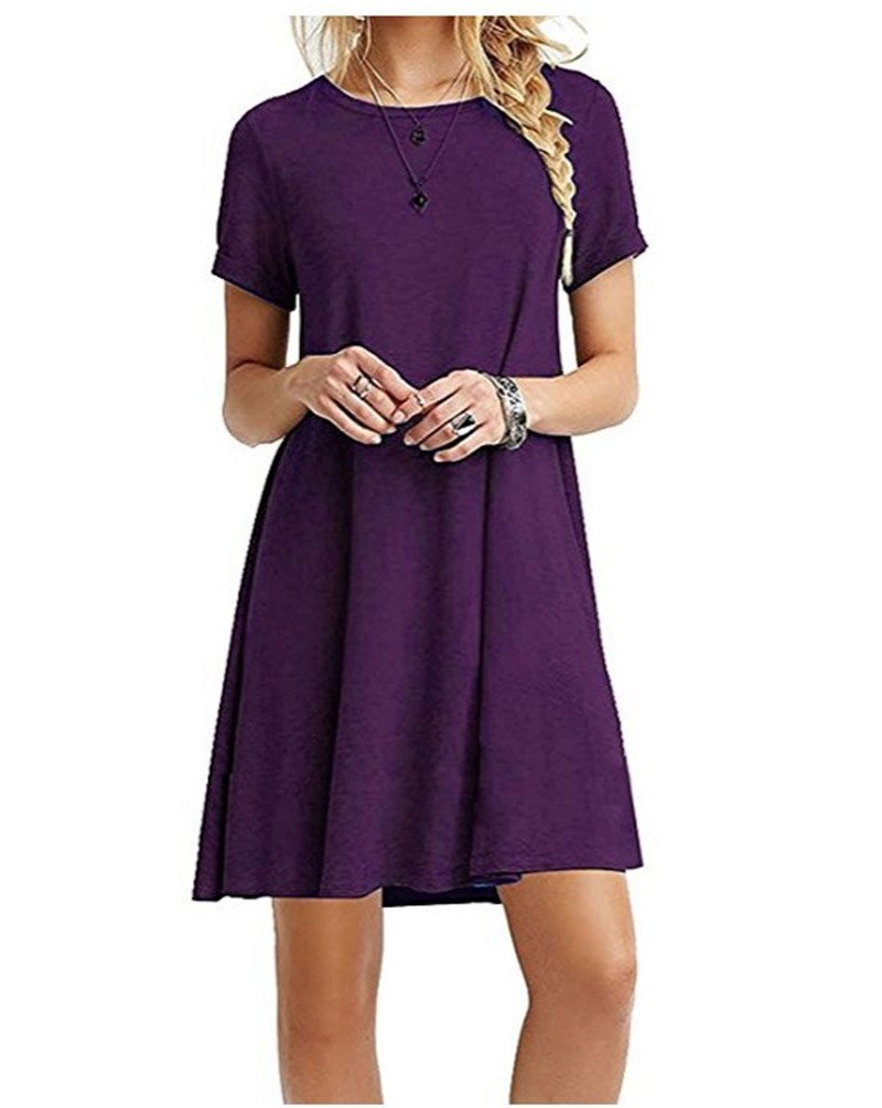 High Quality Fashion Women Black Blue Dress Summer Short Sleeve O-Neck Casual Loose Dress Female Street Plus Size Dress Vestidos 9