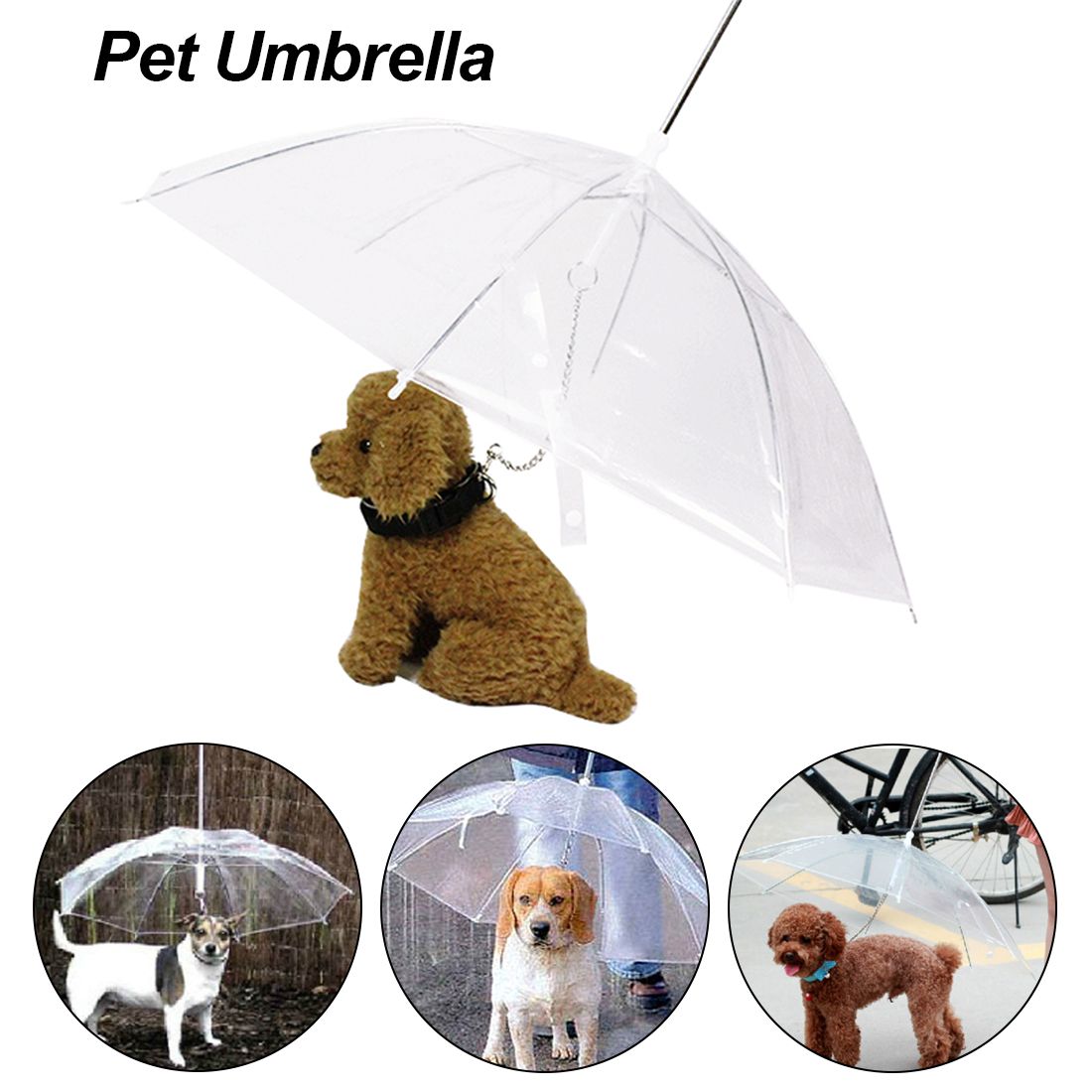 Transparent Pet Dog Umbrella Portable Built-in Leash Puppy Umbrella Cat Waterproof Raincoat Pet Rain Gear