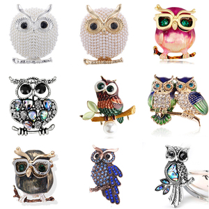 Blue Eyes Enamel Pins Rhinestone Couple Owl Brooch Animal Brooches For Women Men Clothes Scarf Buckle Collar Jewelry Pins(China)