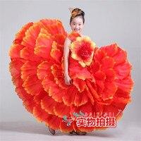 Çocuk kostümleri kızlar açılış dans büyük etek İspanya dans etek petal etek çocuk sahne performansı hizmet