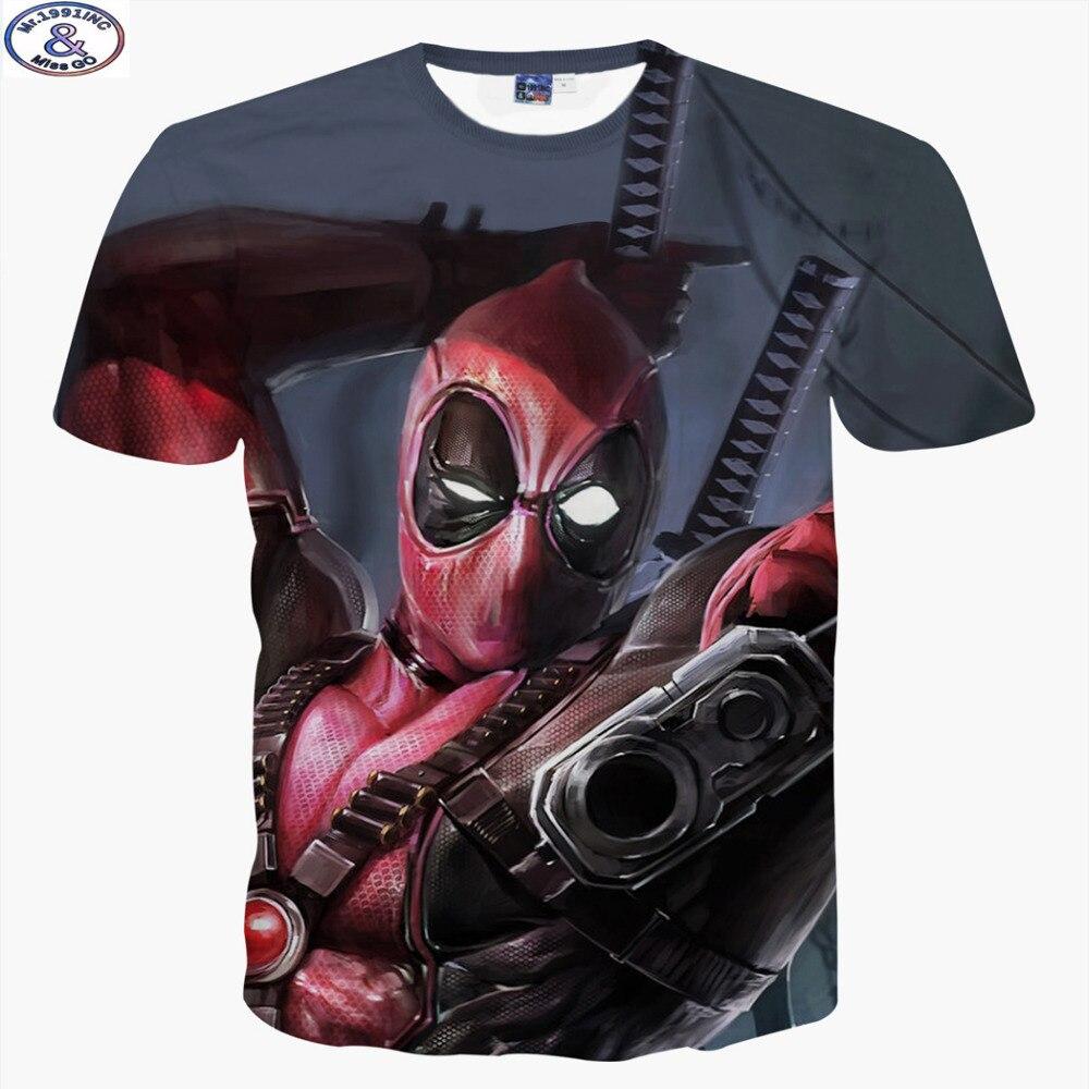R3952 18 De Descontomr1991 Nova Moda América Dos Desenhos Animados Anime Deadpool Bandidos 3d Impresso Hip Hop T Shirt Meninos Crianças Grandes