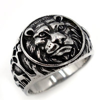 2016 New Fashion Lion Head Ancient Silver Plated Ring Filled Jewelry Vintage Rings For Women Men