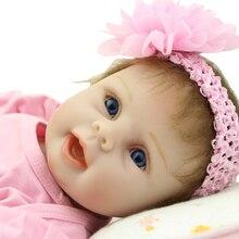 Cute 22 Inch Fashion Reborn Girl Baby Doll Silicone Soft Vinyl Lifelike Boneca Alive Dolls Kids Birthday Xmas Gift