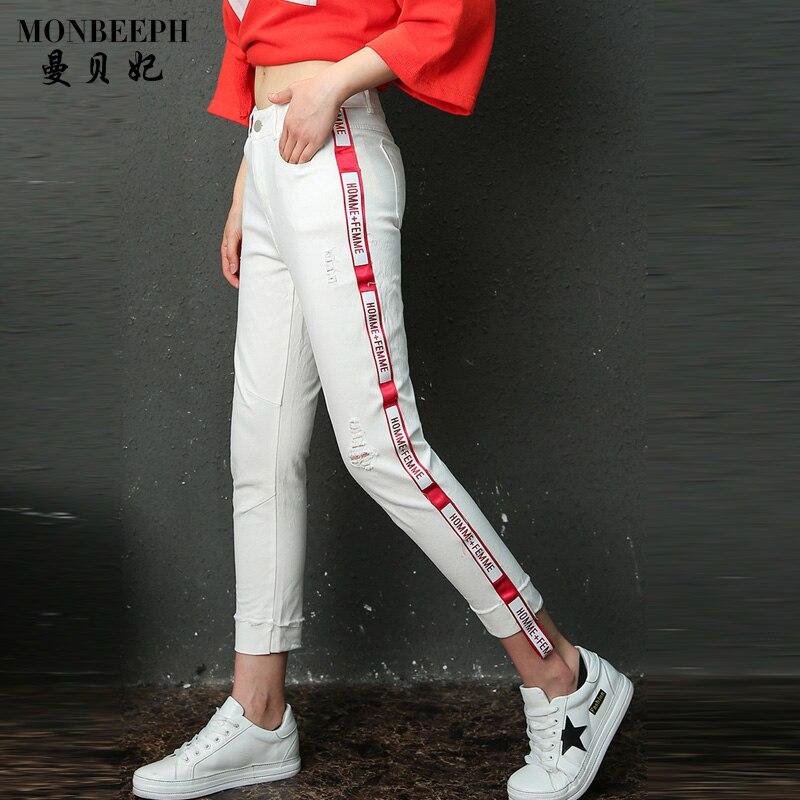 MONBEEPH 2017 brand Fashion Casual Designer Ankle Length Trousers Denim Pants hole Letter Ribbon Patchwork Capris