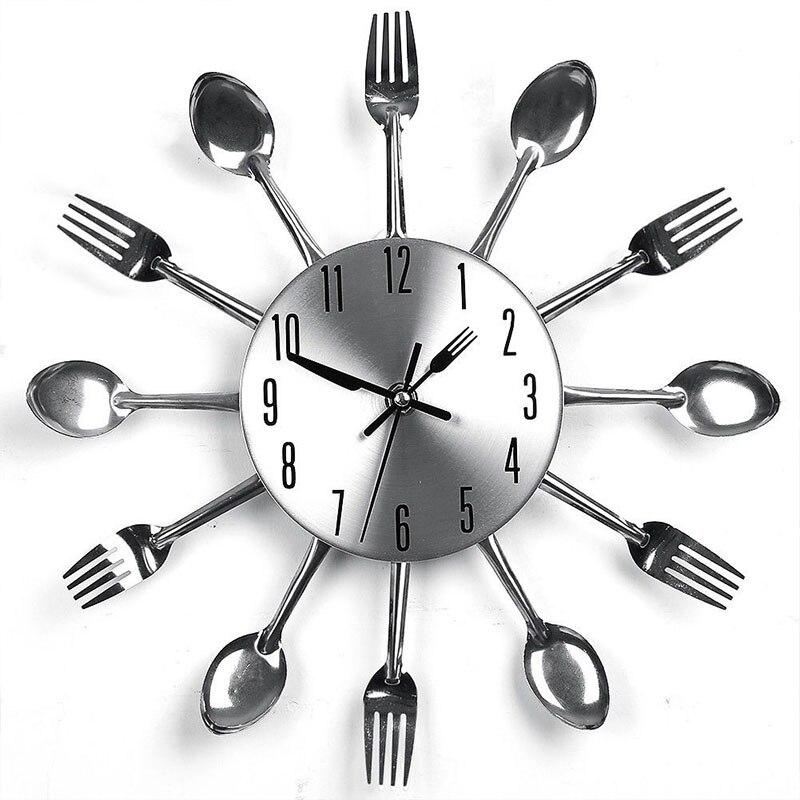Decoración Para el hogar Relojes de acero inoxidable sin dedos cuchillo y tenedor cuchara Reloj de pared cocina restaurante hogar Decoración