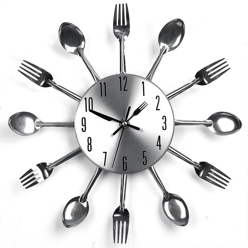 Home Decorations Noiseless Stainless Steel Cutlery Clocks Knife And