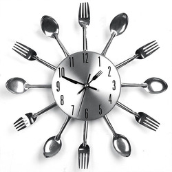 Home Decorations Noiseless  Stainless Steel Cutlery Clocks   Knife and Fork Spoon  Wall Clock  Kitchen Restaurant Home Decor