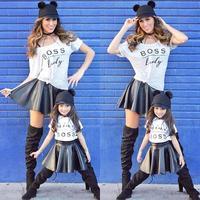 Fasshion kız giysileri Mini boss desen bebek çocuk kız elbise set t shirt + etek vestido infantil bebek çocuk elbiseler D3-26
