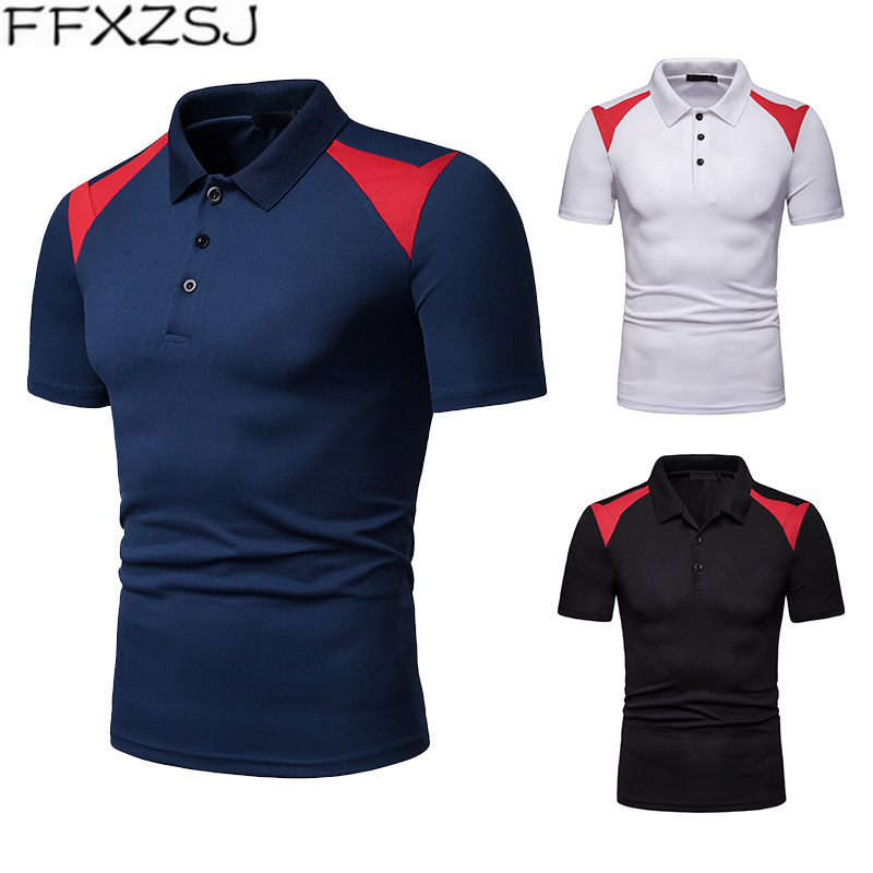 FFXZSJ Brand Casual   Polo   Shirt Men 2019 Summer Solid Color Short Sleeve   Polos   Breathable Men's Bottoming Shirt Camisa Black