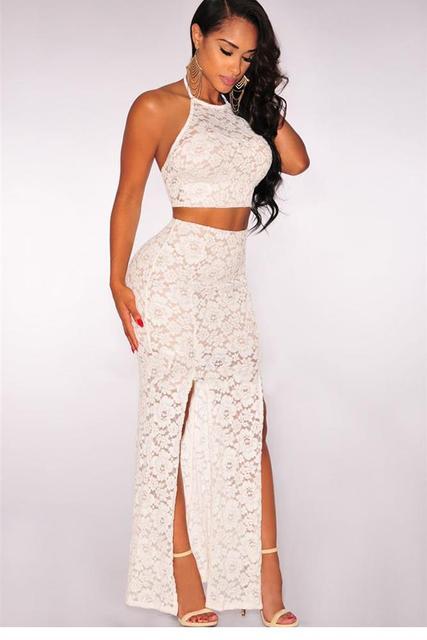 d60a435547c Recién 2 unidades cordón camisa corta y falda larga con hendidura ropa  conjunto blanco   rosa