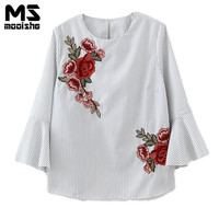 Mooishe Spring Fashion Women Embroidered Shirts O Neck Three Quarter Flare Sleeve Floral Stripes Women Shirts