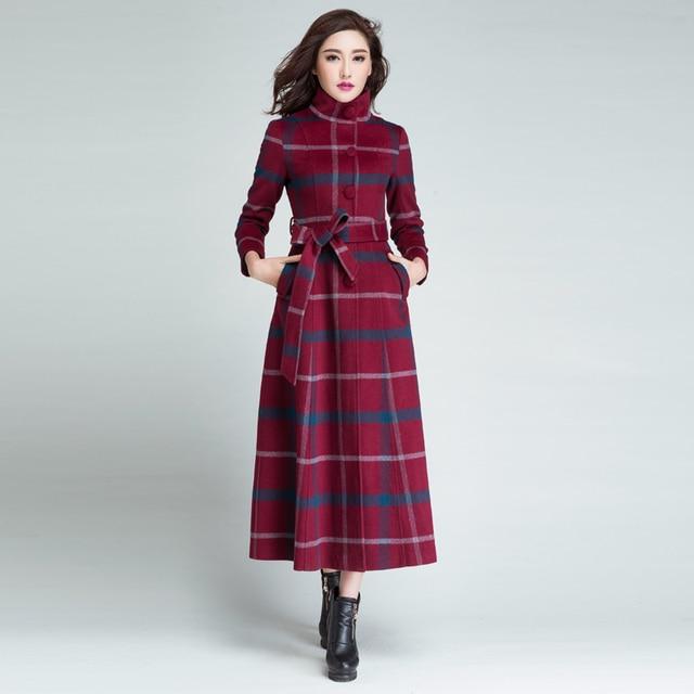2018 Winter Women Single-breasted Woolen Overcoat Ultra Long Coat Paragraph Outerwear Slim Elegant Plaid