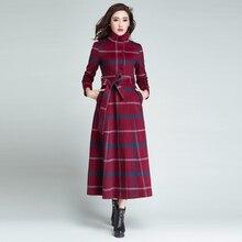 купить 2015 winter women Single-breasted woolen overcoat ultra long coat paragraph outerwear slim elegant Plaid по цене 8479.43 рублей
