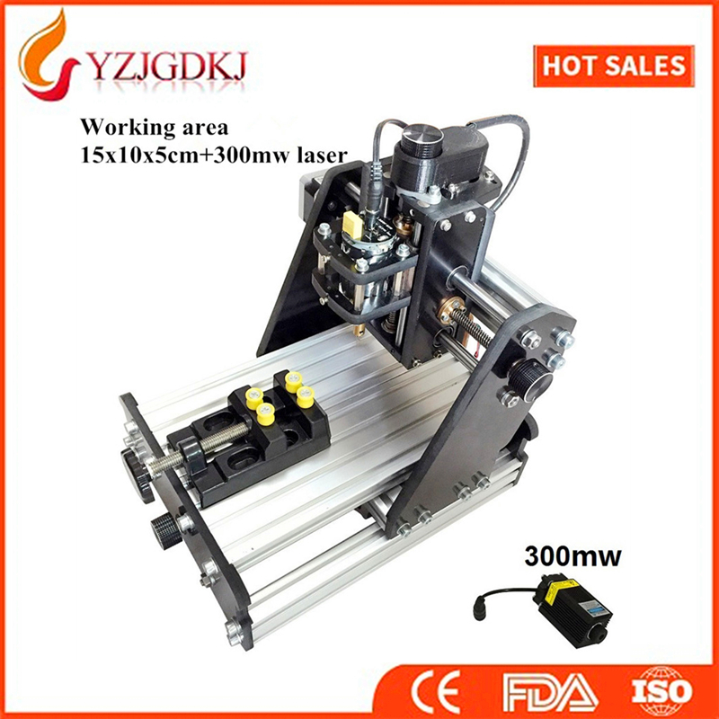 CNC 1510+300mw laser GRBL control Diy high power laser engraving CNC machine,3 Axis pcb Milling machine,Wood Router+300mw laser cnc 5axis a aixs rotary axis t chuck type for cnc router cnc milling machine best quality