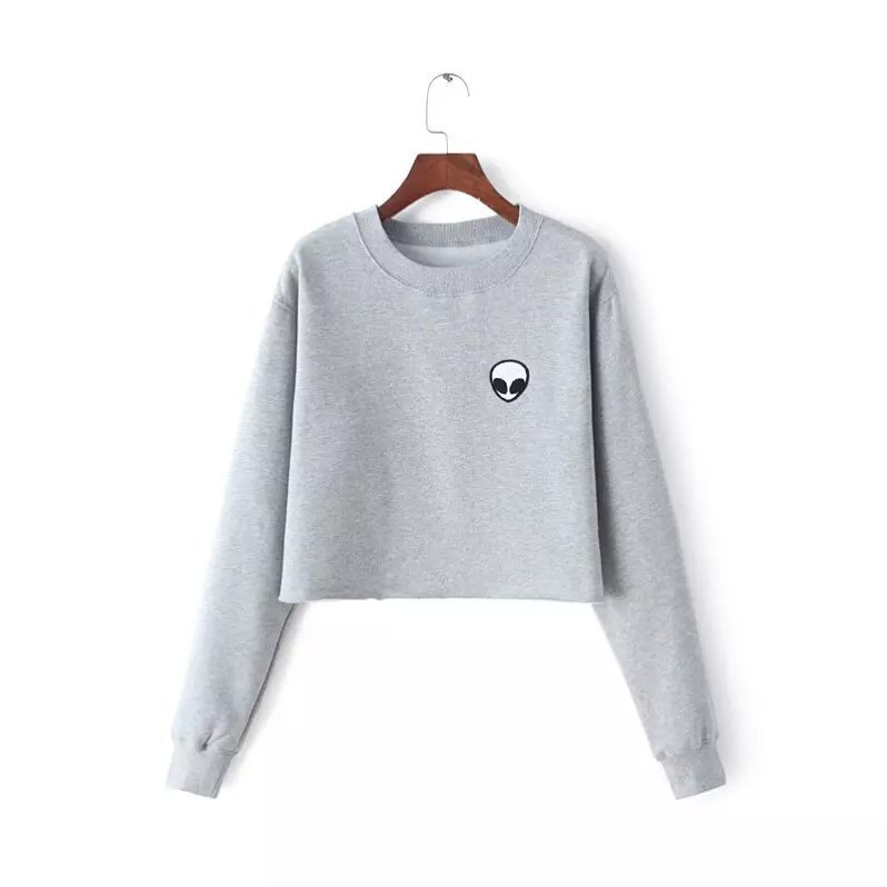 2018 Printing Hoodies Sweatshirts Harajuku Crew Neck Sweat Women Clothing Feminina Loose Short Fleece Jumper Sweats Warm Clothes