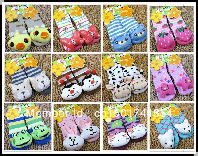 13 design Size 0-2/2-4 Baby Socks with animal Baby Outdoor Shoes Baby Anti-slip cotton Sock kid's gift