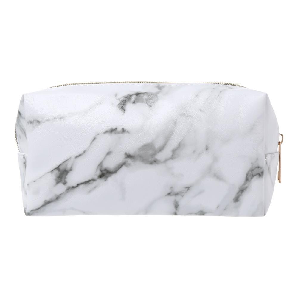 Large Cute Pencil Case Pen Box Zipper Bags Marble Makeup Storage Supplies