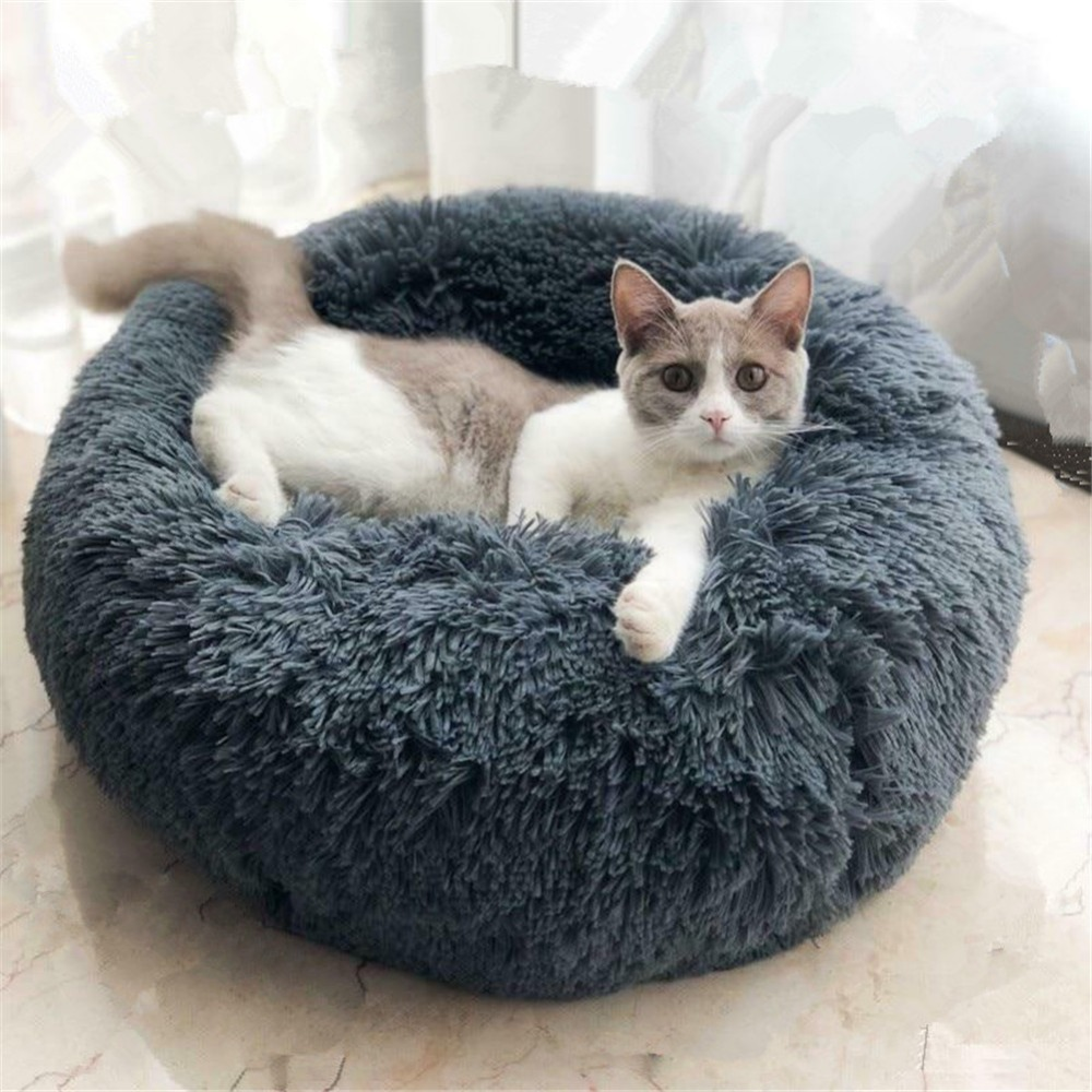 Warm Fleece Dog Bed 50 60 70 80cm Round Pet Lounger Cushion For Small Medium Large Dogs Cat Winter Dog Kennel Dog Puppy Mat in Houses Kennels Pens from Home Garden