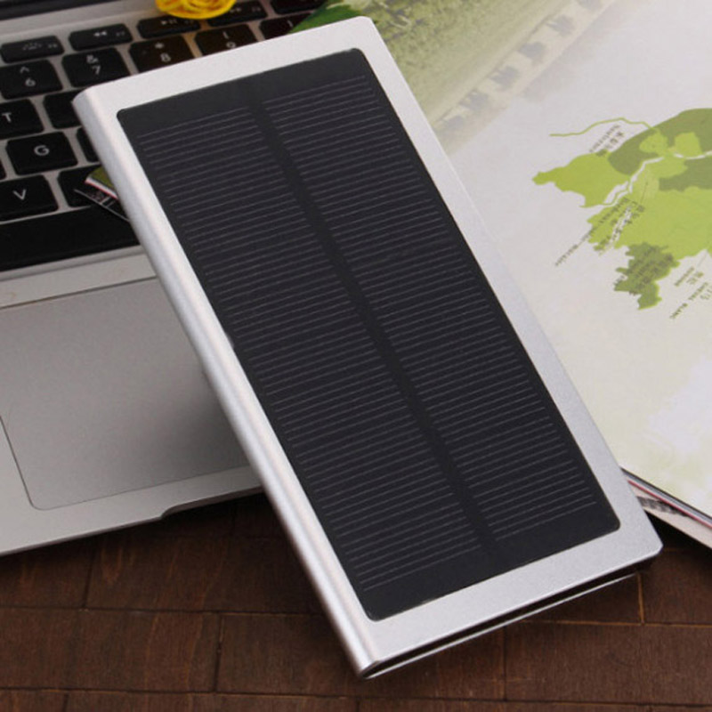 2016 Ultra Slim Luxury Real 12000mah External Solar Power Bank Dual USB Portable Battery Charger for