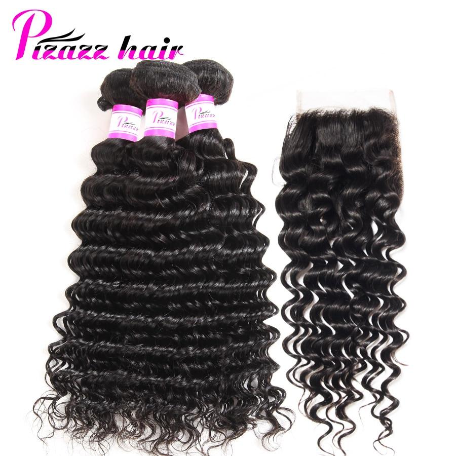 Pizazz Brazilian Deep Wave Bundles With Closure Double Weft Remy Human Hair Weave 3 Bundles With Closure Natural Black