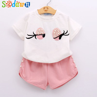 2017 Pearl Girls Clothes Set Lovely Long Eyelashes Toddler Girl Tops Pants Girls Suit Kids Clothes
