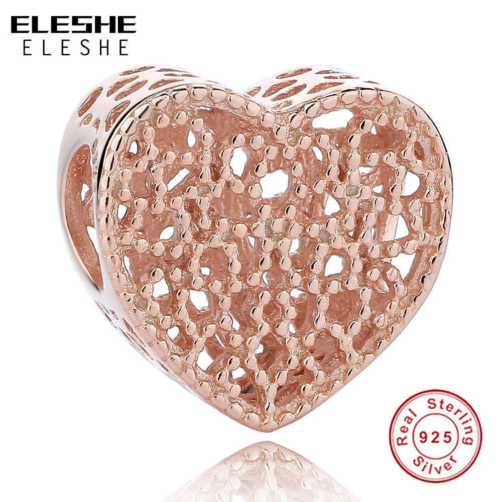 Fit Pandora Charm Bracelets Sterling Silver Rose Gold Charms Romance Heart Beads Silver 925 DIY Jewelry Gift