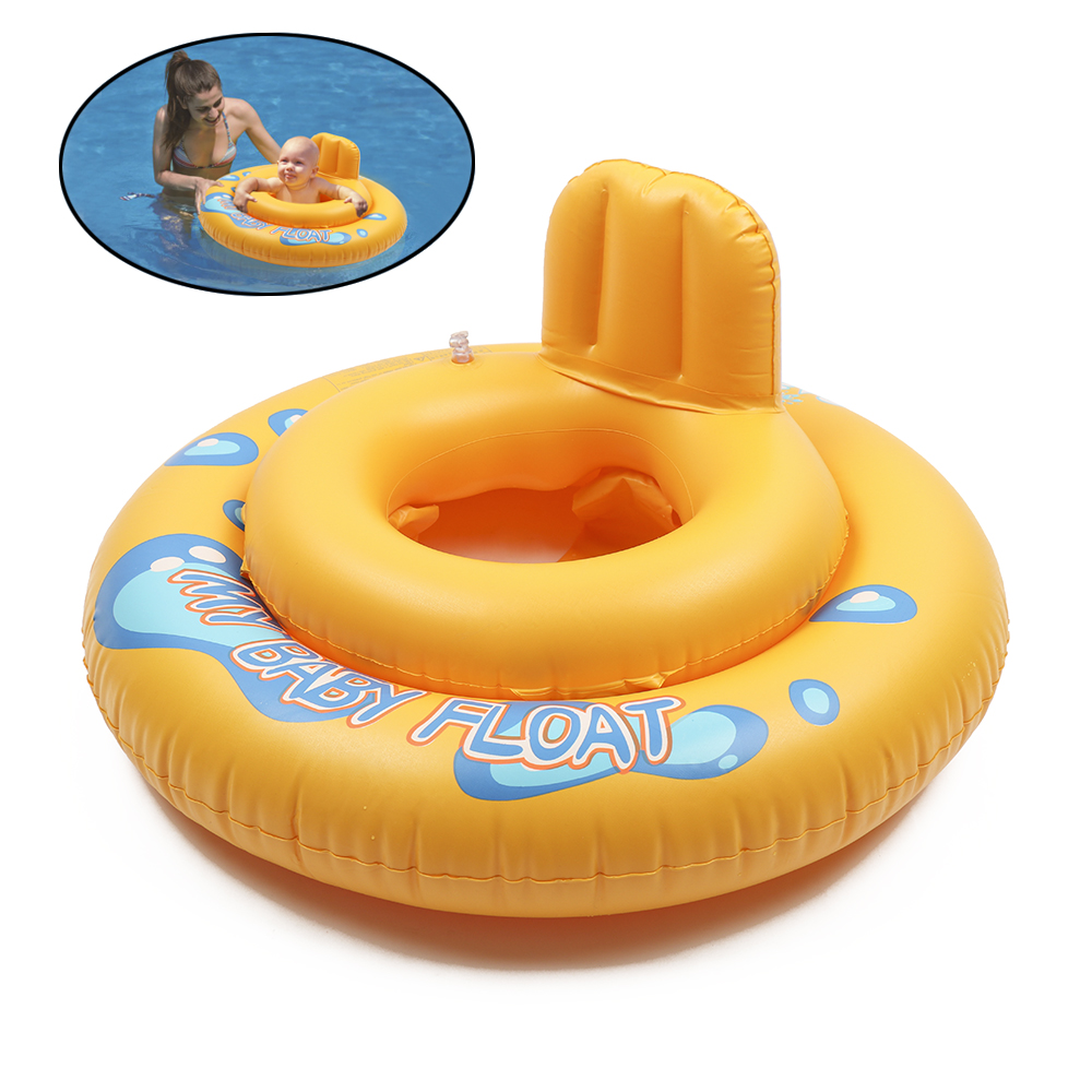 1 Piece Summer Baby Float Pool 2 Circles Rubber Duck Swim Seat Pool Toy Baby Bath  Ring Float Swimming Pool Bath Toys For Kids