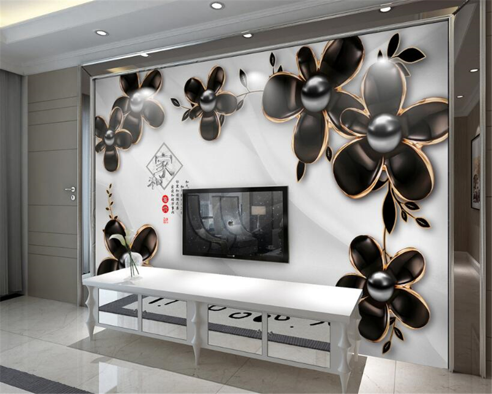 beibehang wallpaper 3D stereo luxury black flowers jewelry TV bedroom living room background wall papel de parede 3d wallpaper papel de parede roses closeup flowers photo wallpaper living room tv background sofa wall bedroom restaurant bar 3d mural