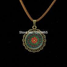 Retro Om Leather Necklace Mandala flower pendant India choker statement necklaces Chakra Zen yoga  friendship jewelry  L 214