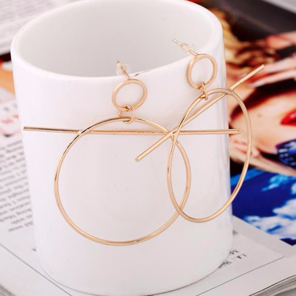 Fashion Temperament Ear Stud Simple Bar Circle Ring Design Earrings Accessories Gold Silver Jewelry For women