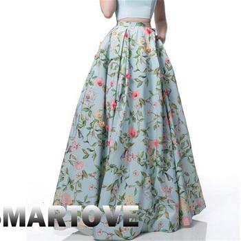 4a7985ffa2 Summer Women Loose Elastic Waist Skirts Fashion Ladies Floral Printed  Chiffon Full Long Maxi Skirt ...