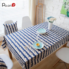 Fashion Blue Linen Tablecloth Rectangular Wedding Party Decoration Cartoon  Printed Cloth For Kitchen Microwave Covers Lace Edge