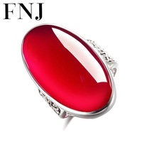 GZ 100 Real S925 Thai Silver Ring Jewelry Pure 925 Sterling Silver Red Corundum Rings For