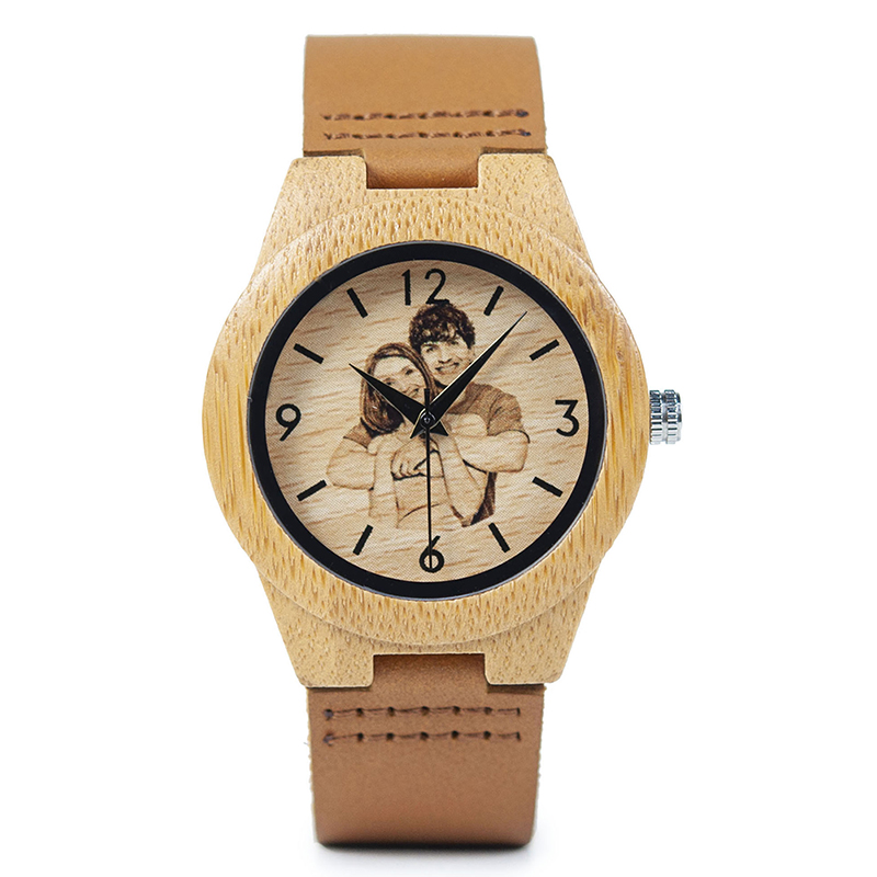 Personalized Picture Printed Wooden Watch with a Gift Box 4
